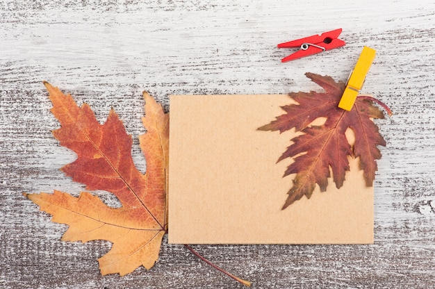 Empty craft card with autumnal leaf
