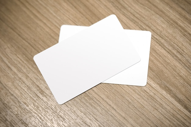 Empty credit card mockup put on table