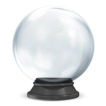 Empty crystal ball on white