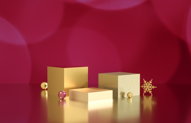 Empty cube box with bokeh background. luxury cosmetic product display scene. 3d render.