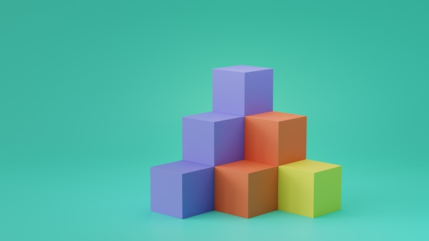 Empty cube boxes backdrop display on blank wall background. 3d rendering.