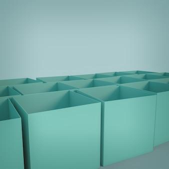 빈 큐브 모양의 상자. 3d 렌더링.