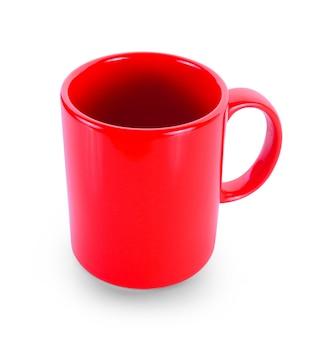 白い背景の上の空のカップ