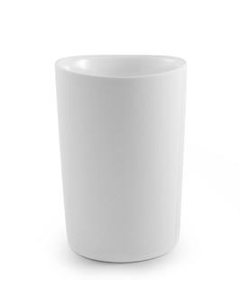 白い表面に空のカップ。