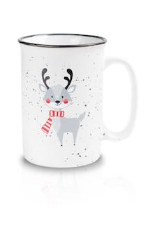 빈 컵 또는 빨간 스카프를 착용하는 사슴 머그잔