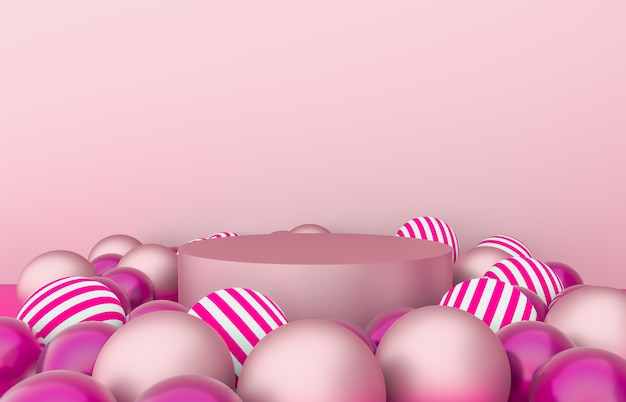 Empty cylinder box with christmas balls background. luxury cosmetic product display scene. 3d render.