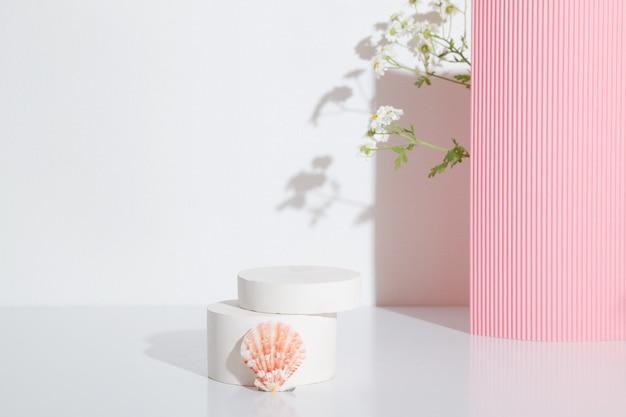 白い背景にカモミールの花と貝殻を持つ空の円筒形の表彰台または台座。空白の棚製品立っている背景