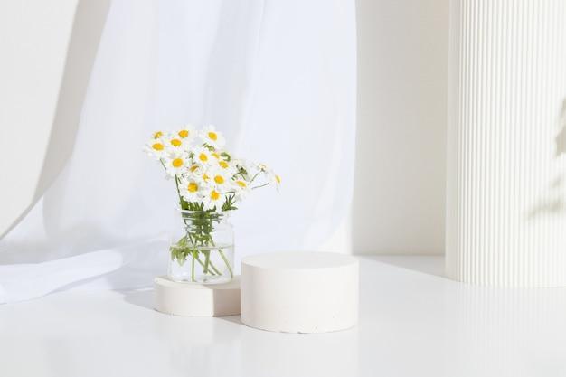 흰색 배경에 카모마일 꽃과 조개껍데기가 있는 빈 원통형 연단 또는 주각. 빈 선반 제품 서 배경