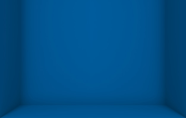 Empty dark blue color cube box corner wall background.