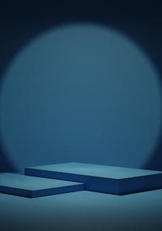 빈 어두운 파란색 연단과 코너 배경에서 빛.