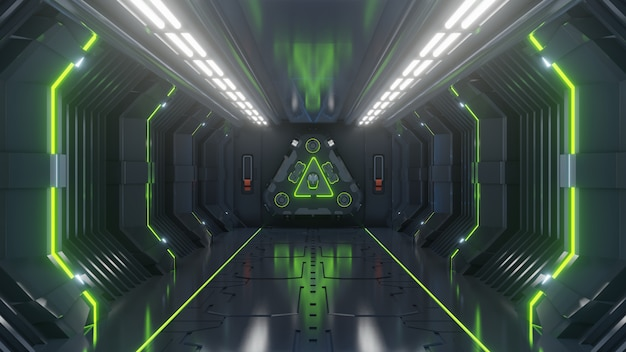 Empty dark futuristic sci fi room, spaceship corridors green light