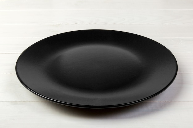 Empty dark matte dish for dinner