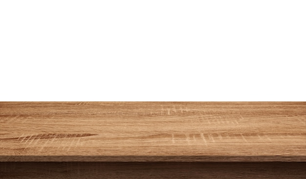 흰색 배경에 고립 된 빈 어두운 나무 테이블