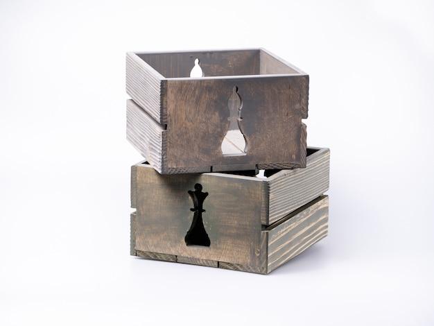 Empty decorative crates, isolated on white