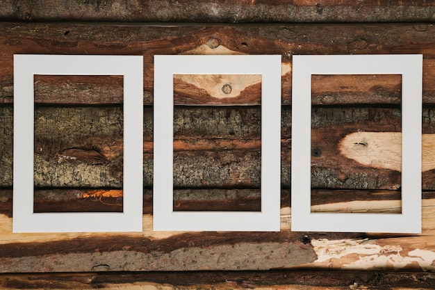 Empty decorative frames with wooden background