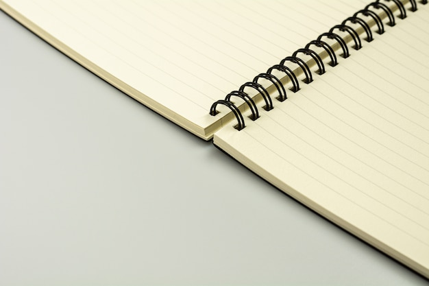 Empty diary book on grey desk.