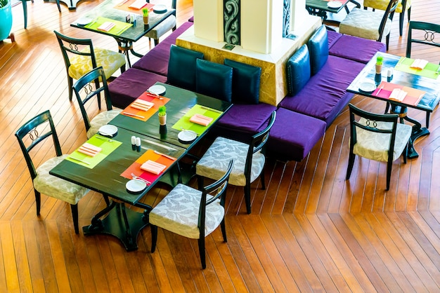 Empty dining table in restaurant