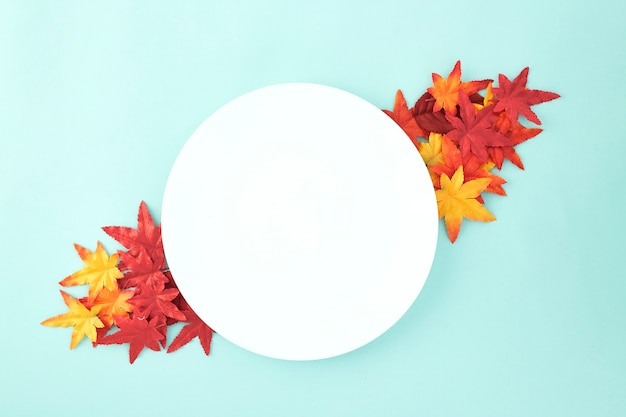 Empty dish decorative halloween autumn leaves