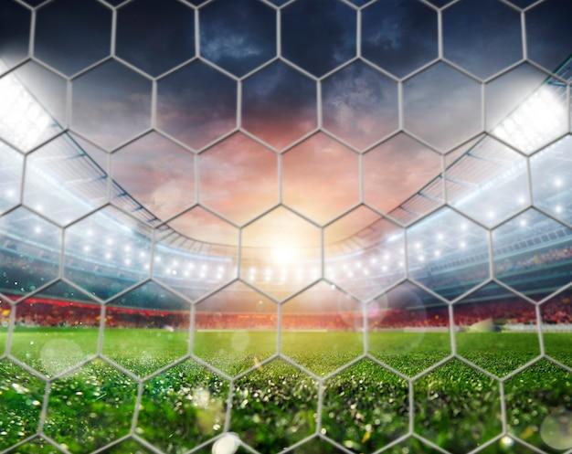 サッカーの試合前のサッカースタジアムの空のドア