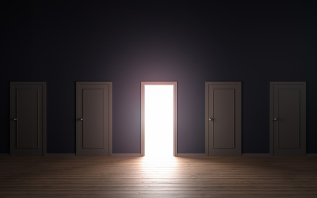 Empty door opened light 3d illustration