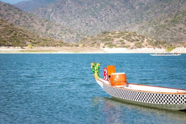 空のドラゴンボートレースと競争のための準備