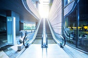 Empty escalator view