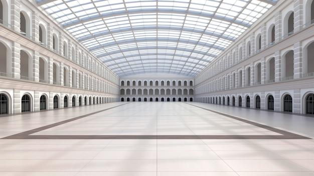 빈 전시 공간. 비즈니스 포럼. 전시회 및 이벤트를위한 배경. 타일 바닥. 마케팅 모의. 3d 렌더링 그림