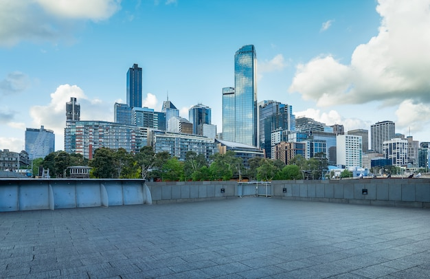 Empty floor with modern cityscape in melbourne