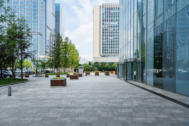 Empty floors and office buildings in the financial center, qingdao, china