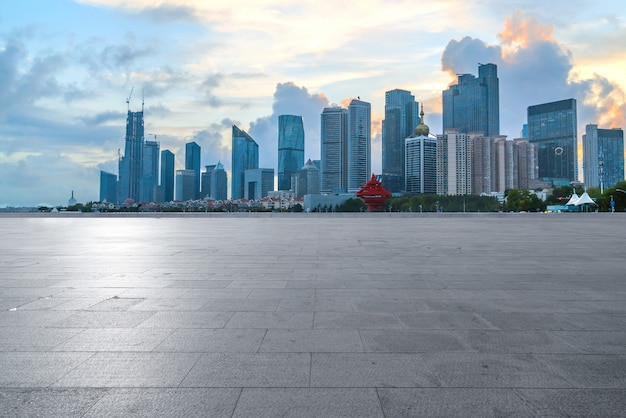 Empty floors and urban skyline in qingdao, china