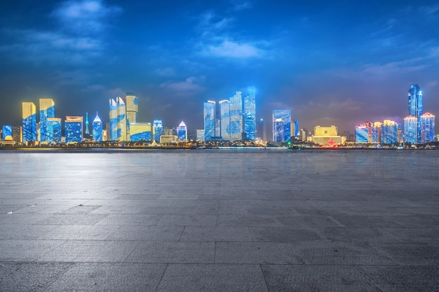 Empty floors and urban skyline in qingdao, china
