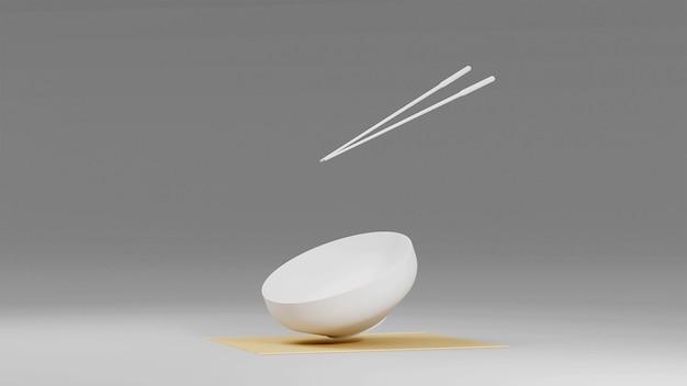 Пустая летающая белая миска и палочки для еды в 3d визуализации