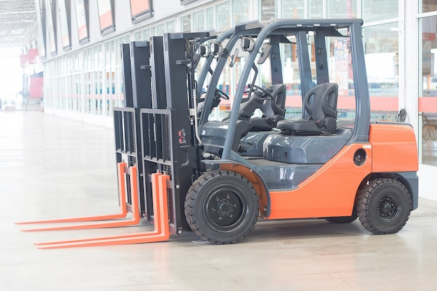 Empty forklift truck for service indurtrail container transport store heavy weight