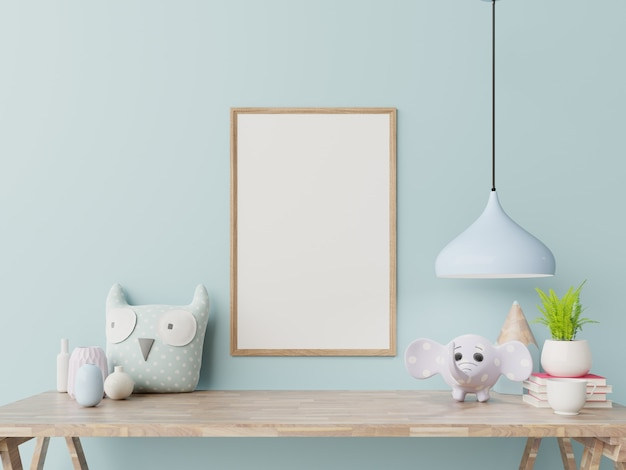 Empty frame in child room interior.