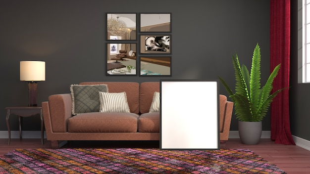 Empty frame in interior background rendered illustration