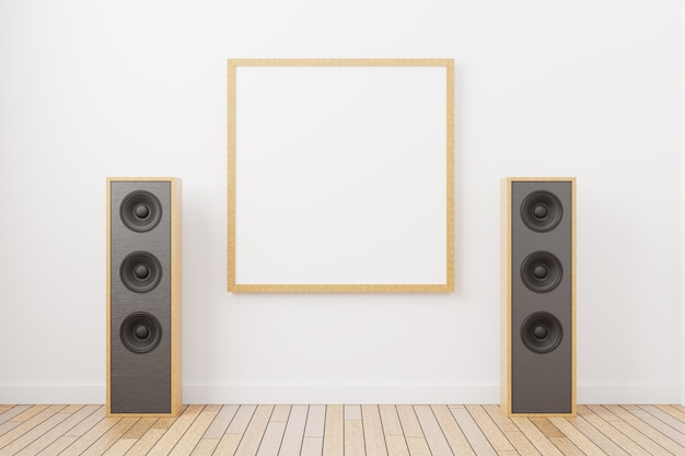 Empty frame mockup for a square shaped painting. empty picture against the background of music speakers in a minimal interior. 3d rendered.