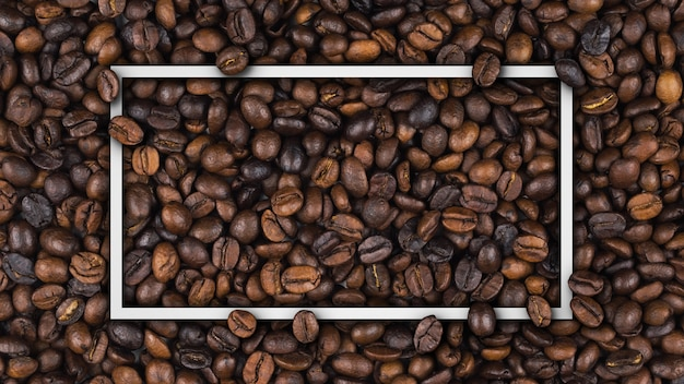 Empty frame of roasted coffee beans banner