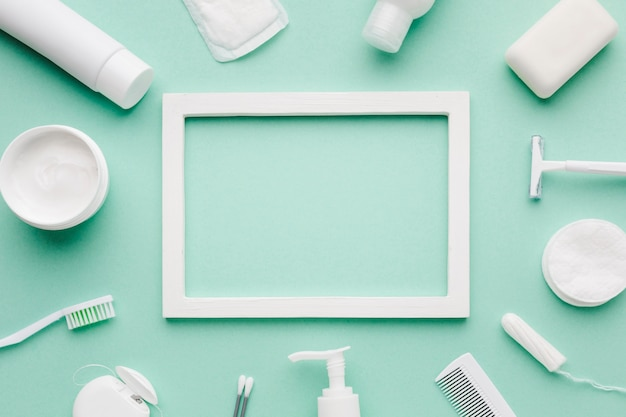 Empty frame surrounded by hygiene products