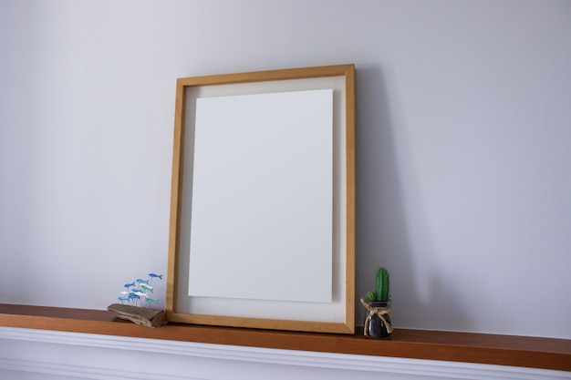 Empty frame with decoration cactus
