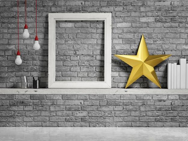Empty frame with golden decoration star on grey bricks background