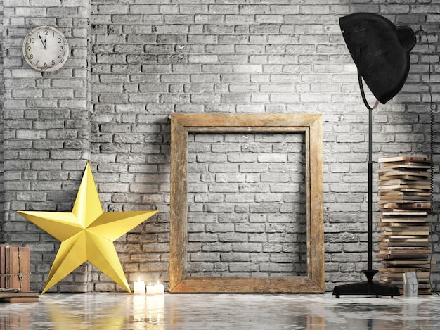 Empty frame with golden decoration star and studio light