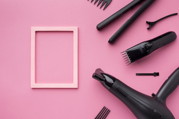 Empty frame with hair supplies