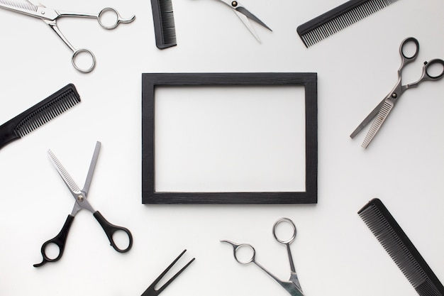 Empty frame with hair tools