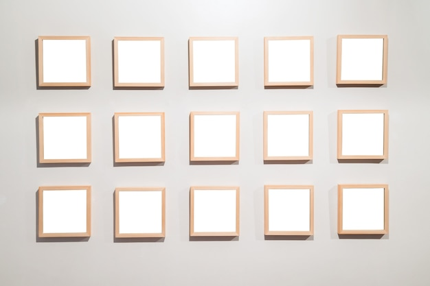 Empty frames on the wall in modern art museum