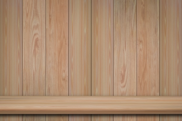 Empty front view of bookshelf on wooden wall background with copy space for advertise product display or design banner web.