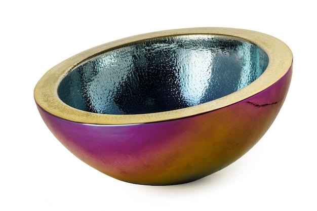 Empty fruit bowl isolated on white background close up
