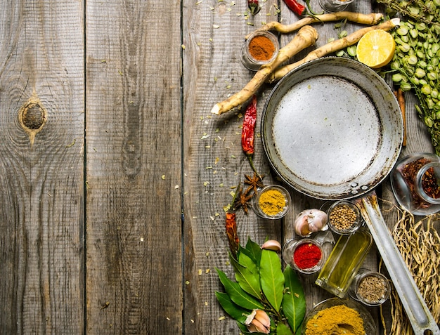 Empty frying pan with aromatic spices and herbs. on a wooden table. free space for text . top view