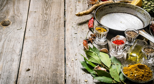 Empty frying pan with aromatic spices and herbs. on a wooden table. free space for text .