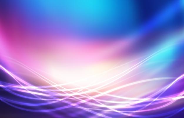 자외선 기하학적 라인 파도 네온 광선으로 빈 미래 추상 배경