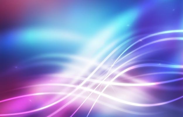 紫外線の幾何学的な線の波ネオンの輝きと空の未来的な抽象的な背景